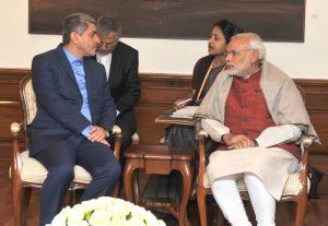The Minister of Economic Affairs and Finance of Iran, Dr. Ali Tayyebnia calls on the Prime Minister, Shri Narendra Modi, in New Delhi on December 28, 2015.