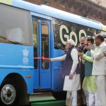 PM Modi attends Demonstration of Retrofit Electric Bus at Parliament