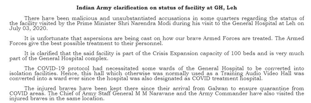 Army Statement