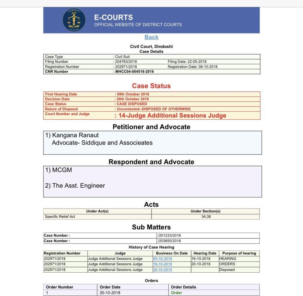 Kangana vs BMC 2018 Demolition Notice