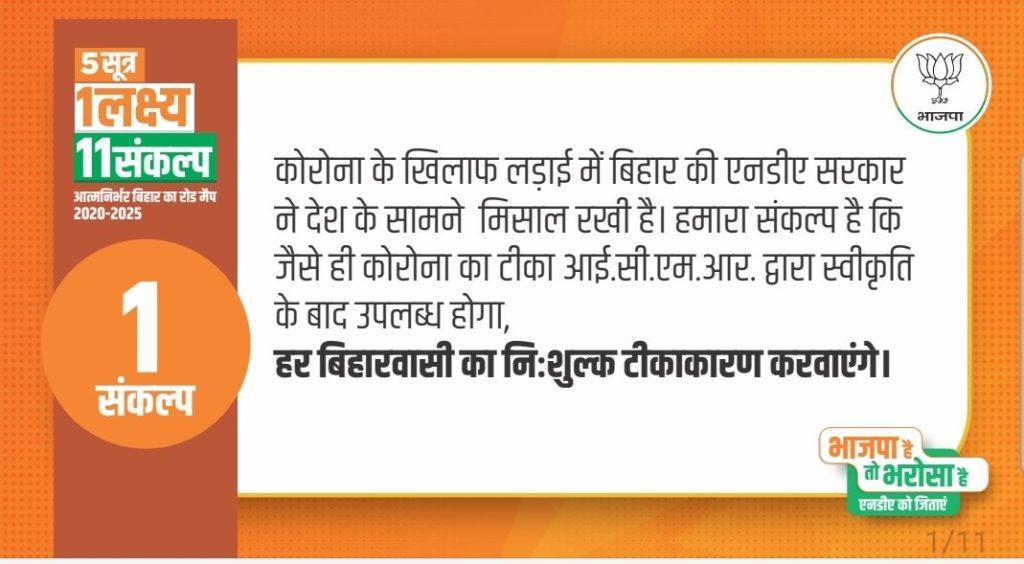 BJP Poll Manifesto Bihar
