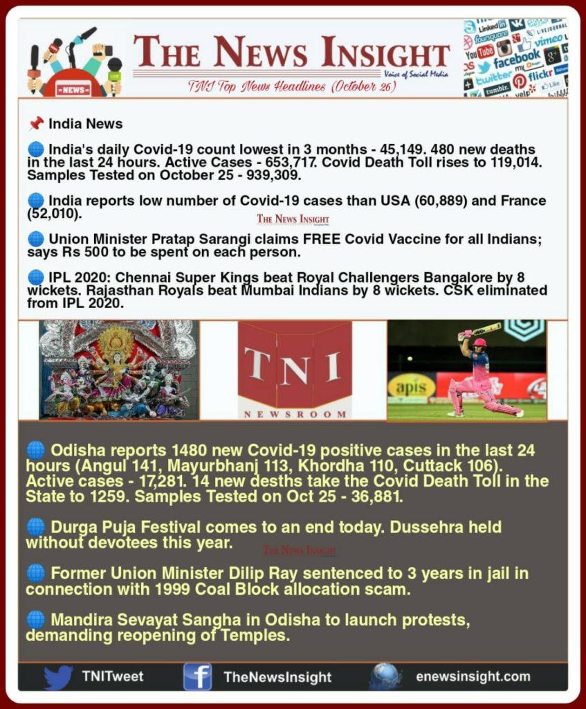 TNI Morning News Headlines – October 26, 2020