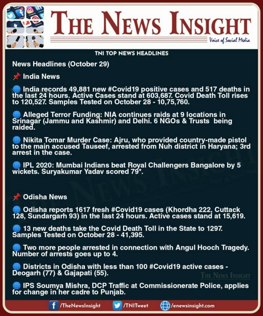 TNI Morning News Headlines – October 29, 2020