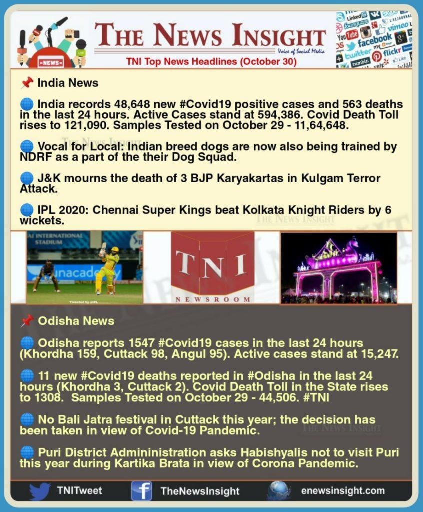 TNI Morning News Headlines – October 30, 2020