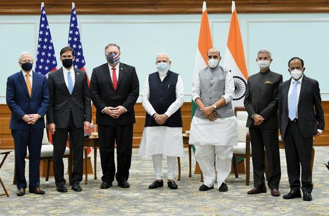 U.S. Secretary of State Michael R. Pompeo & Secretary of Defense Dr. Mark T. Esper called on Hon'ble PM Modi