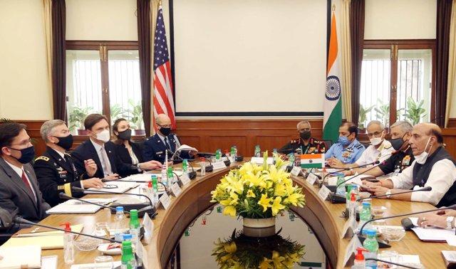 US delegation led by US Secretary of Defence, Mark Esper, meets Indian delegation led by Defence Minister Rajnath Singh in Delhi
