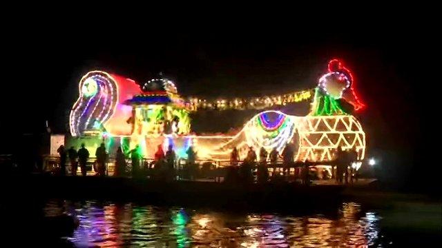 boat ride of goddess Kanaka Durga and Lord Malleswara at Krishna river in Vijayawada