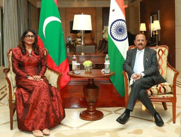 Ajit Doval and Maldivian Defence Minister Mariya Ahmed Didi