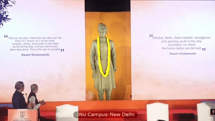 PM Modi unveils a statue of Swami Vivekananda at the JNU campus