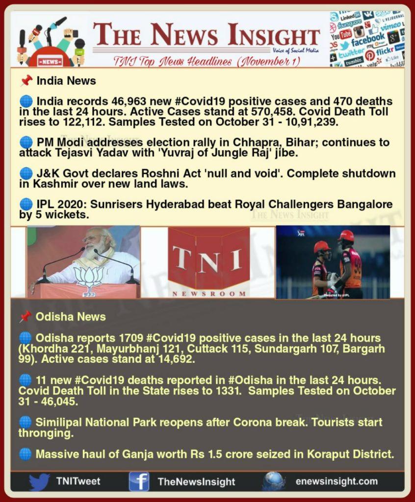 TNI Morning News Headlines – November 1, 2020