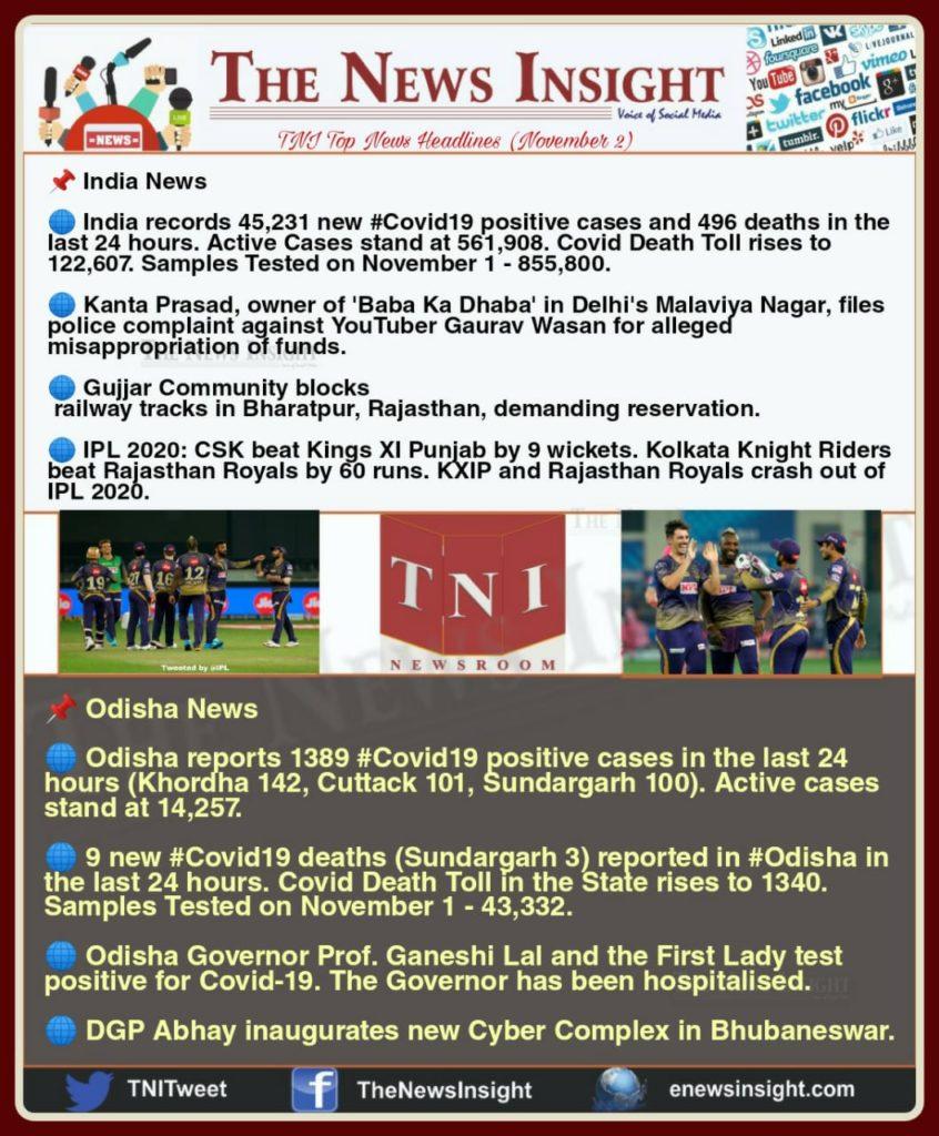 TNI Morning News Headlines – November 2, 2020
