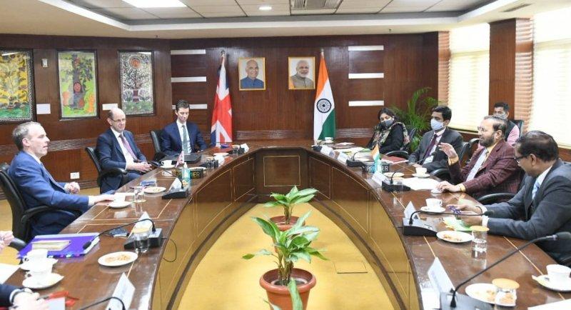 UK's Foreign Secretary Dominic Raab meets Union Minister Prakash Javadekar