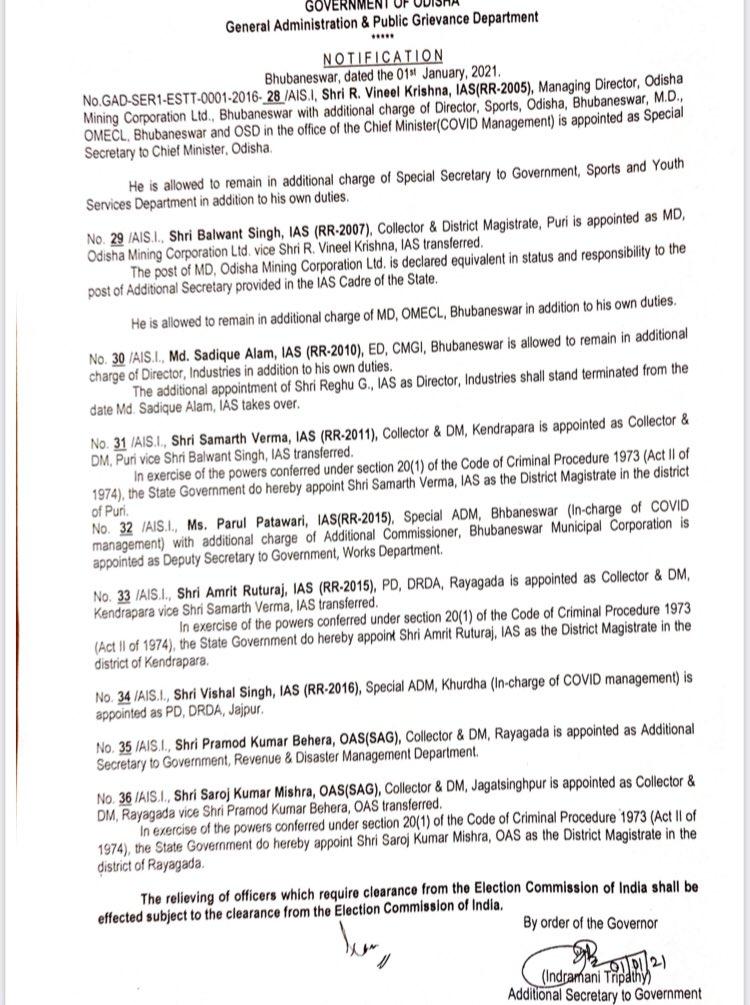 IAS Reshuffle in Odisha
