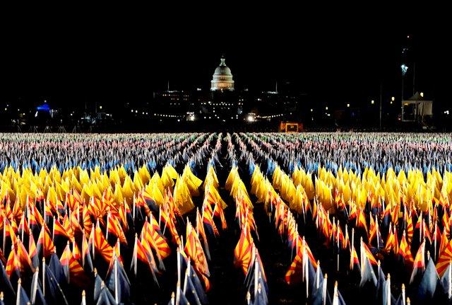 National Mall illuminated with 191,500 US flags & 56 pillars of light