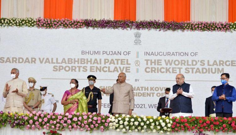 President Ram Nath Kovind and first lady Savita Kovind performed 'bhumi pujan' at Sardar Vallabhbhai Patel Sports Enclave in Ahmedabad.