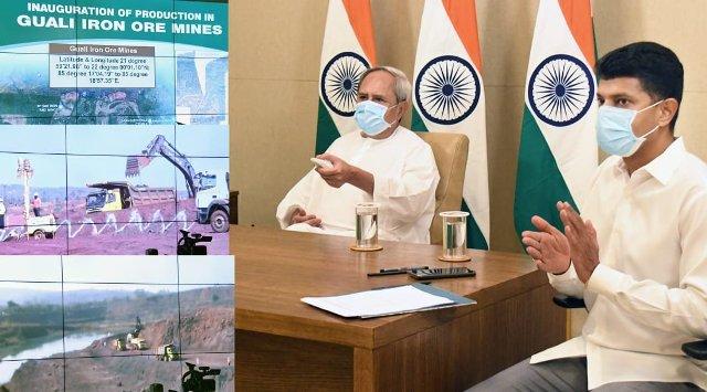 Odisha CM Naveen Patnaik along with Union Minister Pralhad Joshi inaugurated production in two iron ore mines in Kendujhar- Jiling-Langlota Iron ore Block & Guali Iron ore Block.