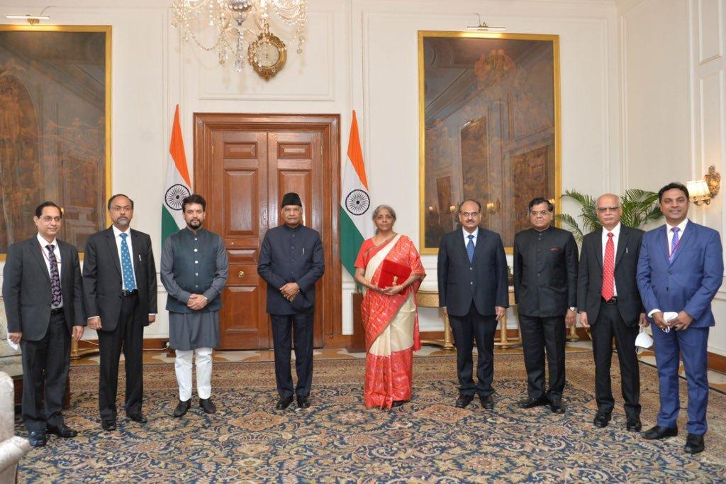 FM Nirmala Sitharaman, MoS Anurag Thakur and senior officials of the Ministry of Finance, called on President Kovind at Rashtrapati Bhavan ahead of the Union Budget 2021-22.