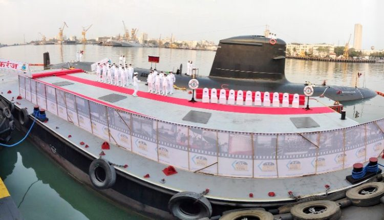 Scorpene-class submarine INS Karanj commissioned into Indian Navy in Mumbai.