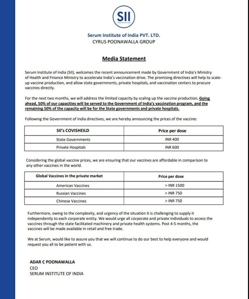 Serum Institute fixes price of Covishield Vaccine