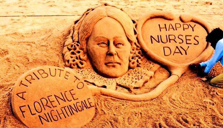 Sudarsan Pattnaik creates sand art on International Nurses Day