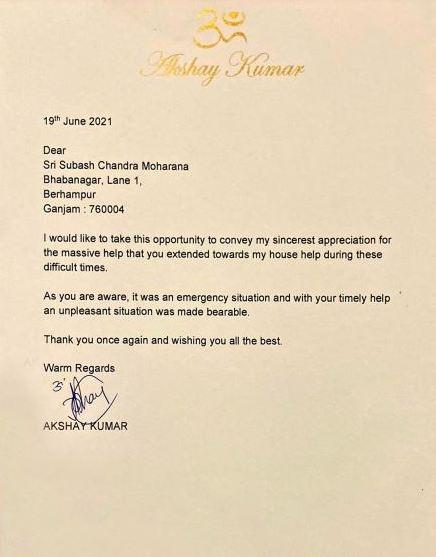 Akshay Kumar sends appreciation letter to Odisha-Mo Parivar Coordinator