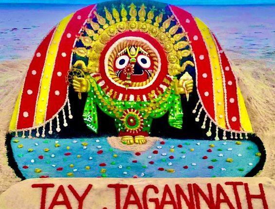 Noted sand artist Sudarsan Pattnaik creates sand art on Sunabesha of Lord Jagannath at Puri beach.