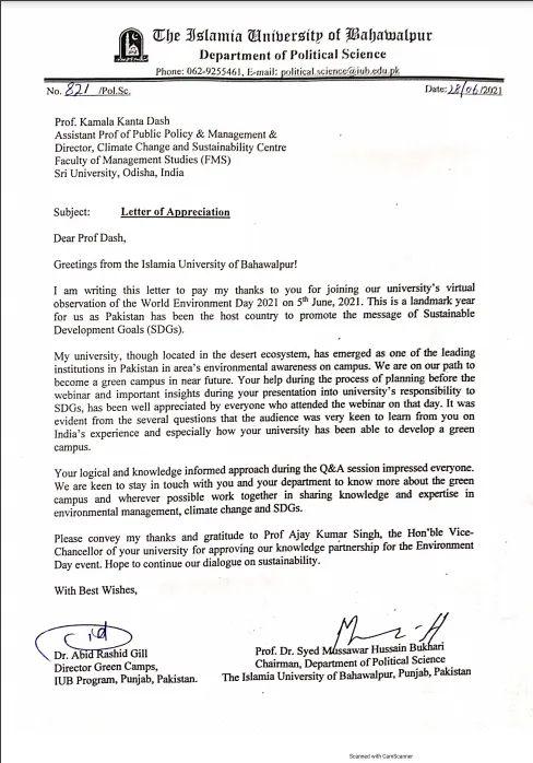 Sri Sri University Professor Kamala Kanta Dash receives appreciation from a Pakistan Varsity