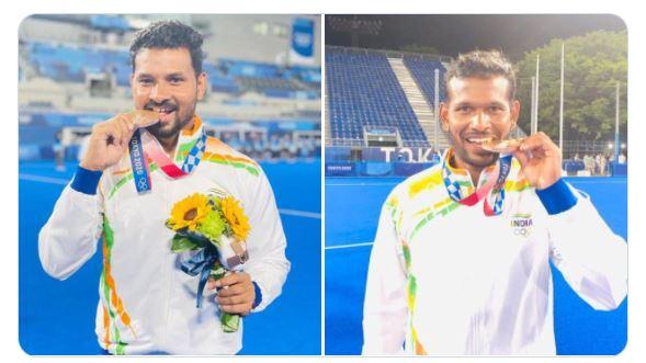 Olympics Bronze winning Hockey Players from Odisha Birendra Lakra & Amit Rohidas