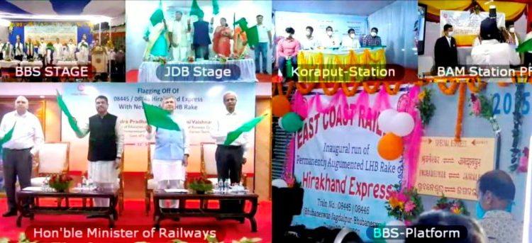Railways Minister Ashwini Vaishnaw and Union Education Minister Dharmendra Pradhan flagged off the new modern LHB Rake of 0844508446 Bhubaneswar-Jagdalpur-Bhubaneswar Hirakhand Express.